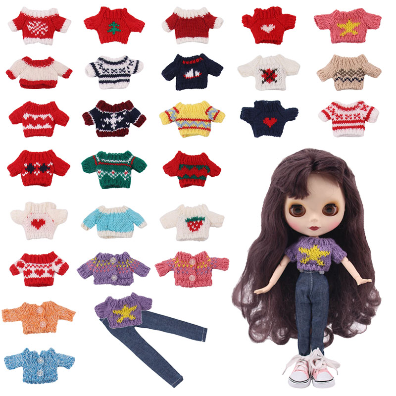 Lucky Doll Clothes Set=1Sweater+1Jeans For 30cm One-Sixth <font><b>BJD</b></font> Doll Toy,Our Generation Birthday Girl's Toy Gifts image