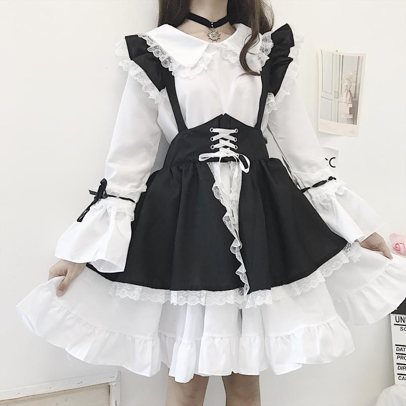 Новинка, черно-белый готический костюм для подружки невесты, платье лолиты, милый японский костюм, праздничное платье