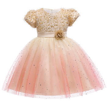 Happy New Year Clothing Kids Baby Girls Flower Lace Sequins Formal Wedding Dress Party Prom