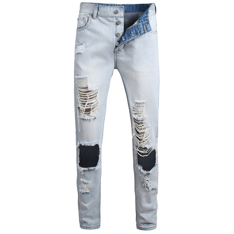 Top Quality Hot Sale Fashion Brand Plus Size Men Jeans Straight Fit Buttons Casual Jeans Men Ripped Hip Hop Jeans Streetwear