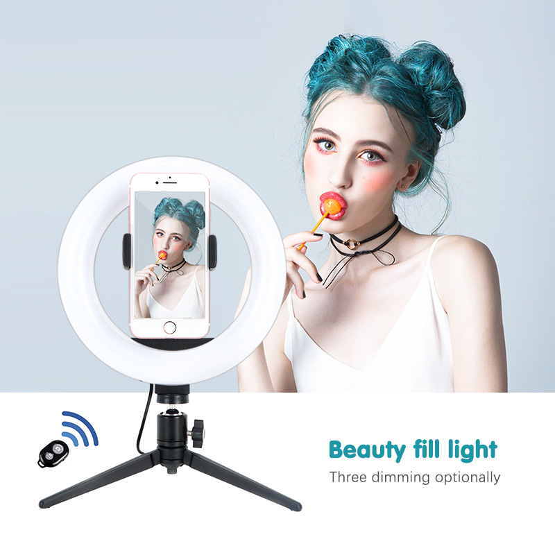 Photography LED Selfie Ring Light 10inch Dimmable Camera Phone Ring Lamp 26cm With Table Tripods For Makeup Video Live Photo
