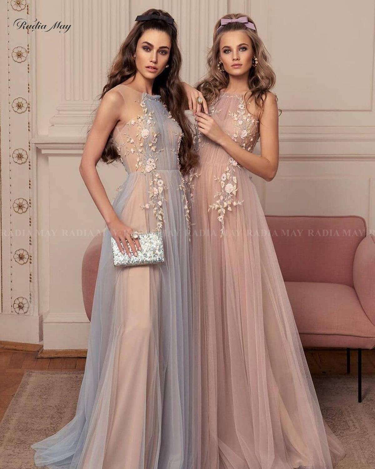 Elegant 3D Flowers Blue Champagne Evening Dress 2020 Long Special Occasion Dresses Women A-line Tulle Arabic Formal Prom Gowns