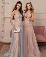 Elegant 3D Flowers Blue Champagne Evening Dress 2020 Long Special Occasion Dresses Women A line Tulle Arabic Formal Prom Gowns