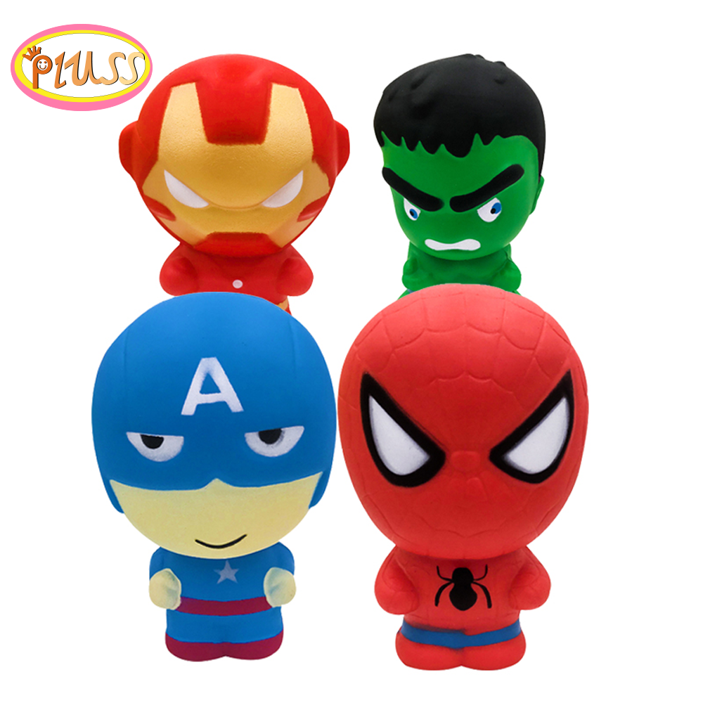 Jumbo Super Hero Spiderman Iron Man Hulk Squishy Cartoon Doll Soft Squeeze Toy Stress Relief Fun For Kid Xmas Gift Toy
