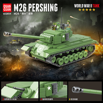 WW2 Military M26 Pershing Heavy Tank Building Blocks USA Tank Bricks WW2 Army Soldiers Weapons Children Toys For Children Gifts 995pcs german king tiger tank model building blocks sets military ww2 army soldiers kit diy bricks educational toys for children