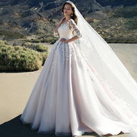 Romantic 3D Flower Bridal Dress Puffy Tulle 3/4 Sleeves Wedding Dresses Robe De Marriage 2020 Lace A Line Vintage Bridal Gowns