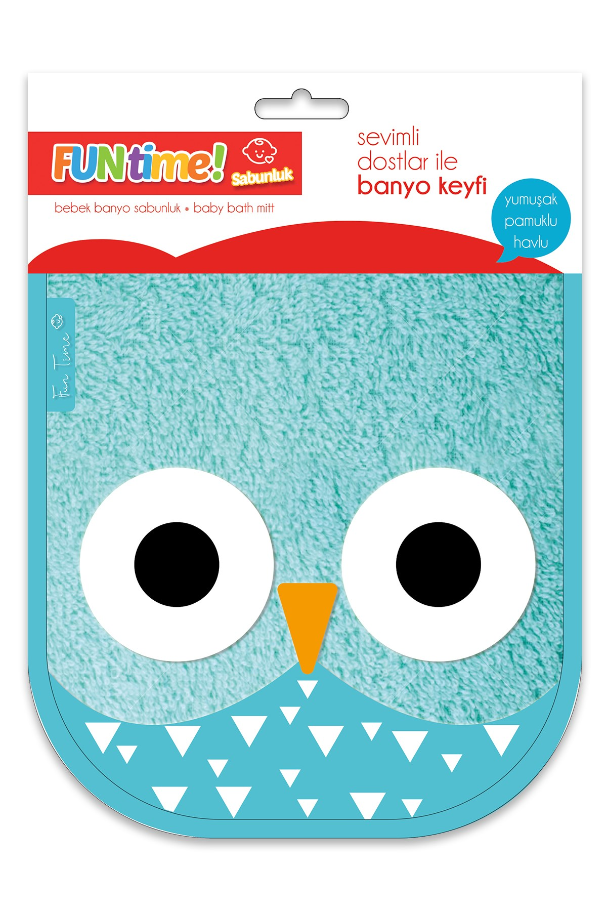 Fun Time % 100 Cotton Cute Owl Soap Glove For Babies And Kids