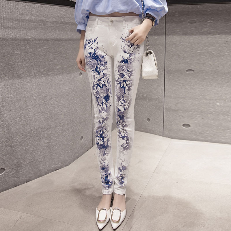 2020 Autumn New Print Slim Legs Long Legs Jeans Female Elastic Thin Pencil Pants  Ripped Jeans for Women Skinny Jeans Woman