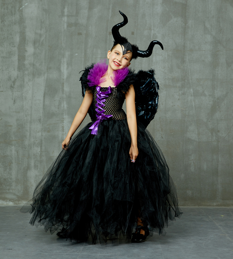 Maleficent Black Gown Tutu Dress with Deluxe Horns and Wings Girls Villain Fancy Dress Kids Halloween Cosplay Witch Costume (1)