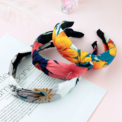Lady Hair Hoop Knot Flower Headband Elastic Hairband Hair Accessories for Women Solid color knitting Make Up Headwear FG044