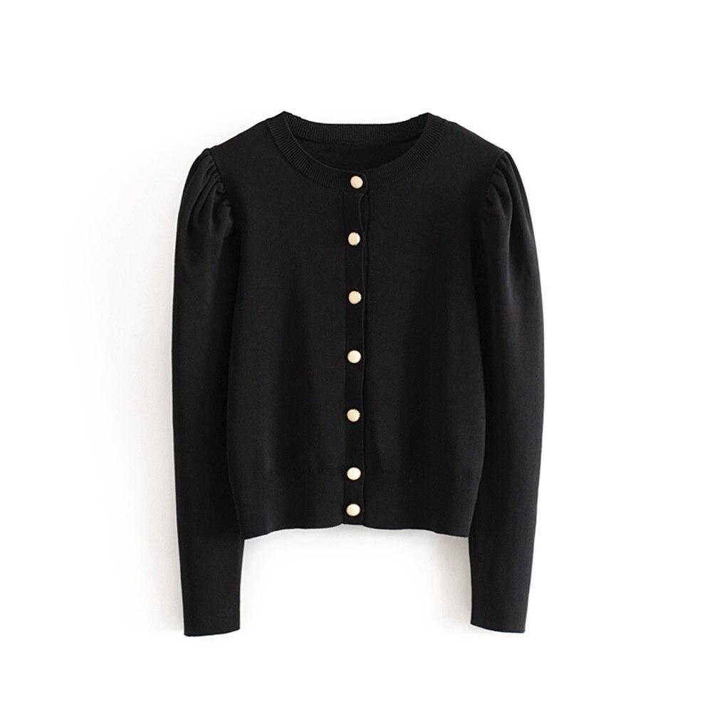 New Slim Bubble Sleeve Slim Trimmed Blouse Short Knitted Coat for Women