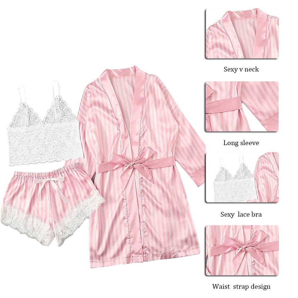 긴 소매 여자 잠옷 섹시한 레이스 란제리 Nightwear 속옷 잠옷 3PC 정장 잠옷 세트 여성 Pijama Mujer