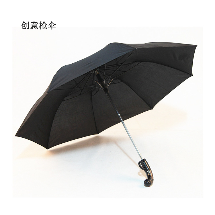 Taobao Hot Selling Black Short Pistol Umbrella New Style Two-Folded Rifle Western Self-opening Umbrella Advertising Umbrella A G