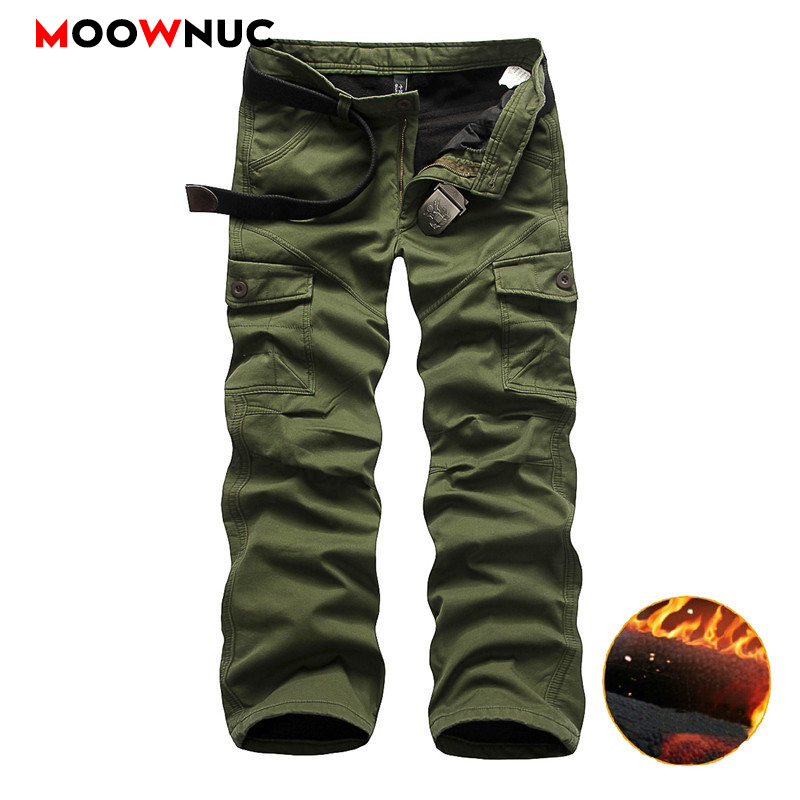 Men's Cargo Pants Casual Thick Streetwear Hombre Cotton Military Style Outdoors Plus Size Safari Style Trousers Male MOOWNUC