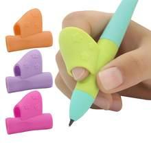 1/3 pçs lápis lidar com a mão direita ajuda as crianças a aprender segurando caneta e escrita correção postura lápis aperto loops cor aleatória