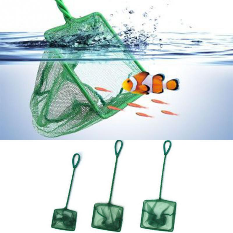 Green Portable Long Handle Square Aquarium Fish Tank Fishing Net Landing Net For Fish Floating Objects Cleaning Tools