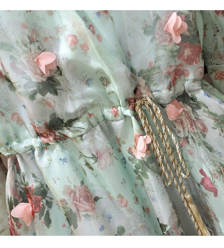 Women V-Neck Floral Appliques Chiffon Dress 2019 Summer Flare Sleeve Belt Flower Print Dress Empire Plus Size Mini Dresses 63