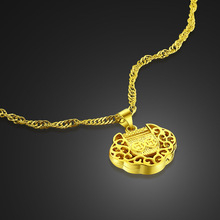 new fashion women real gold plated necklace.Vintage pattern pendant.Necklace 24 k plating does not change color