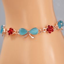 Blue Opal Bracelet Charms Rose Gold Plated Bracelet Bangle Red Crystal Bowknot Bracelet for Women Jewelry Woman Bangle Cuff