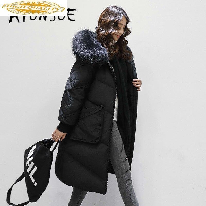 2019 New 90% White Duck Down Jacket Women Korean Raccoon Fur Collar Puffer Jacket Women Down Coat Warm Parka YS61015001 YY1635