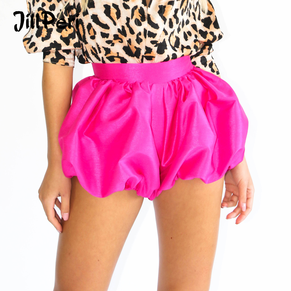 JillPeri Women Pink Lantern Short Sexy Structured Ultra Short Outfit Solid Sweet Celebrity Wear Holiday Party Club Shorts Bottom