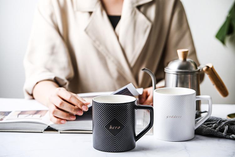 Черно белая кофейная кружка или чайная чашка для свадебного