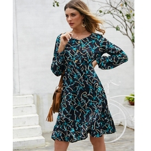 2019 New arrival Autumn  vintage chain print long sleeve Flare dress female casual chic dresses vestidos