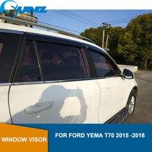 Deflector de ventana de coche visera para FORD YEMA T70 2015, 2016, 2017, 2018 Winodow Visor de ventilación tonos deflector de lluvia y sol guardia riovalle