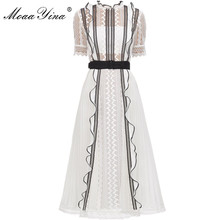 MoaaYina Spring Autumn New Arrive White Lace Ruffles Midi Dress Elegant Women dress high quality