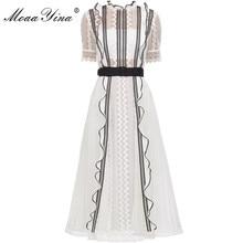 MoaaYina Spring Autumn New Arrive White Lace Ruffles Midi Dress Elegant Women dress high quality