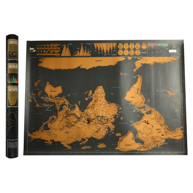 82.5 X 59.4cm Deluxe Black Scratch Off World Map Black Map Scratch With Cylinder Packing Room Decoration Wall Stickers