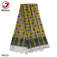 Milylace 2019 Ribbon Organza Ankara Fabric 5 yards Fashion Digital Printing Lace for Clothing RIB-15-24