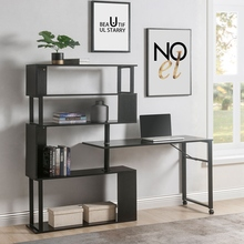 Home Office Computer Desk L-Shaped Corner Table Rotating Computer Table With 5 Story Bookshelf Lockable Office Furnitures cheap CN(Origin) Modern