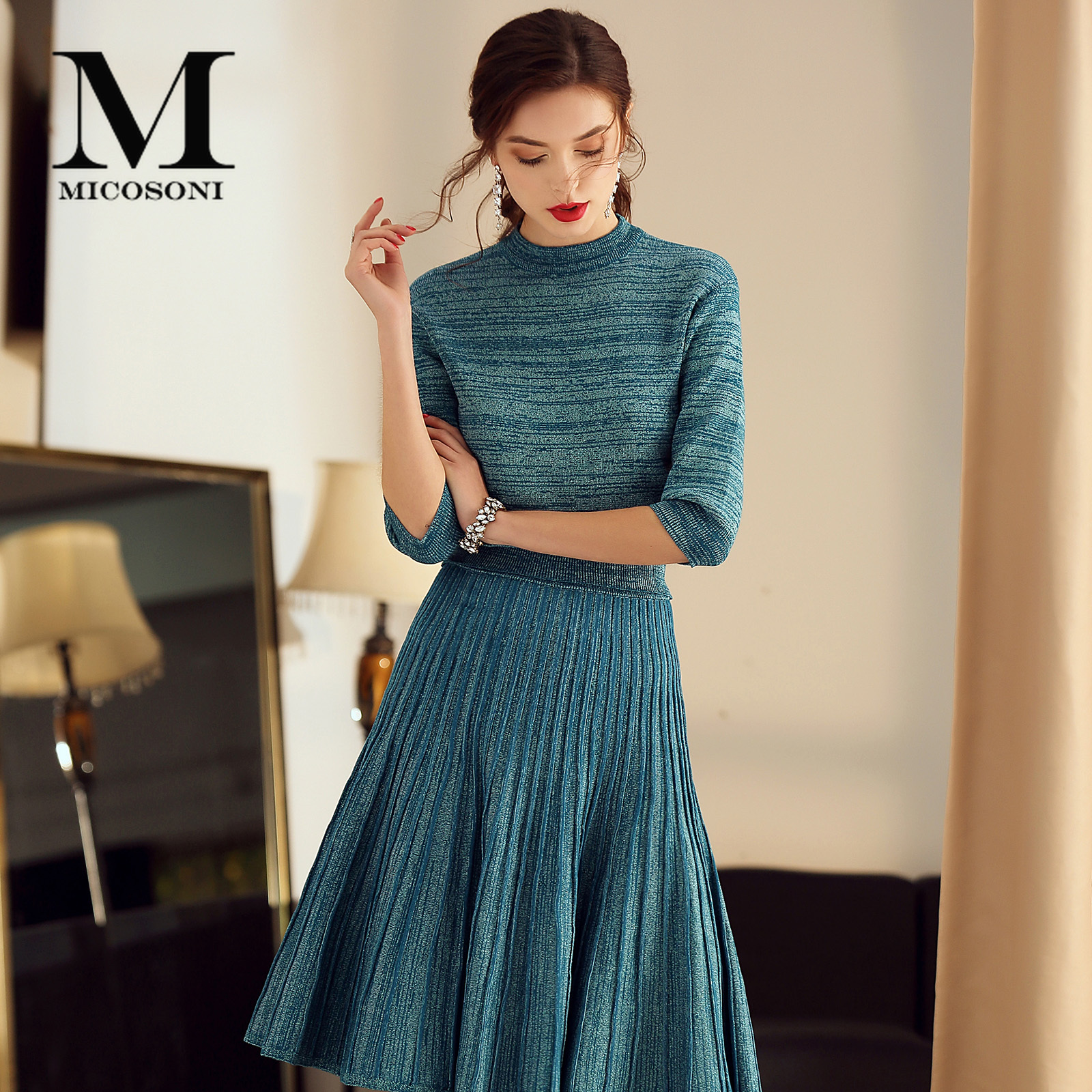Micosoni Italy Style Spring Women's Suit Half Sleeve Knit Top Pleated Skirt Two-Piece Set Office Lady Elegant Plus Size S-XXXL