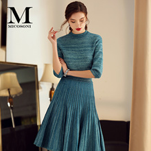 Micosoni Italy Style Spring Women's Suit Half Sleeve Knit Top Pleated Skirt Two-