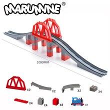 Marumine Toys Duplo Train Tracks 26-28PCS Bridge Building Blocks Set Creative Educational Classic City Bricks for Children