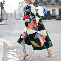 Autumn Winter Trench Coat Fashion Geometric Print Color Coat Female Casual Long Cardigan Coat Turn Down Collar Vintage Outwear