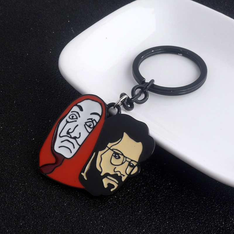 Spain TV La Casa De Papel Keychain The House of Paper Money Salvador Dali Professor Mask Keyring For Men Women Jewelry Gifts image