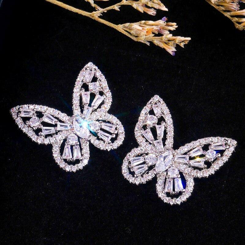 Huitan Gorgeous Bow Women Stud Earring Micro Pave CZ Zircon Stone Noble Female Wedding Ceremony Party Romantic Earrings Jewelry