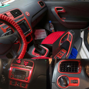Car-Styling 5D Carbon Fiber Car Interior Center Console Color Change Molding Sticker Decals For Volkswagen VW POLO MK5 2011-2018
