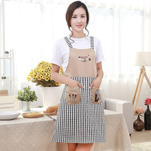 Cotton linen embroidery lattice dining aprons Kitchen cooking oil-proof pocket pinafore shoulder strap sleeveless bib for woman