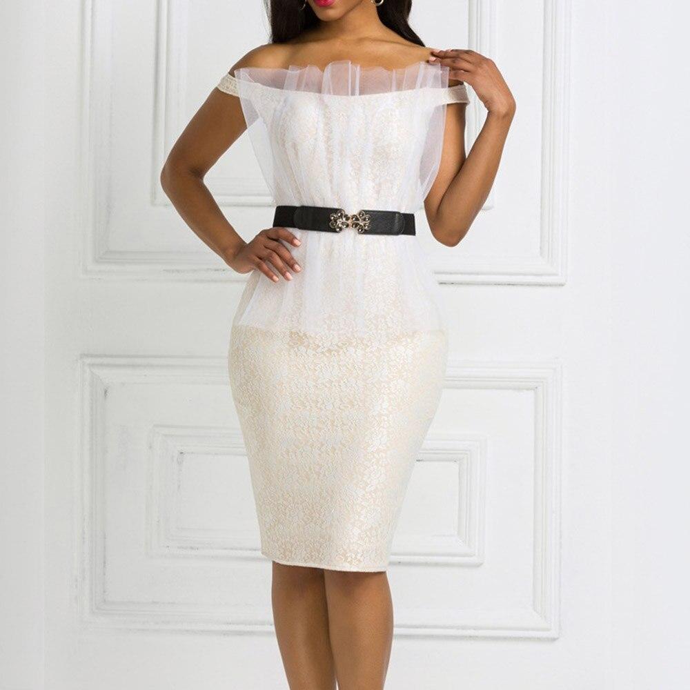 Sexy Lace Bodycon Dress African 2020 Slash Neck Lace Party Dinner Club Midi Dresses Robe Femme Vestiods Elegant Plain Dress