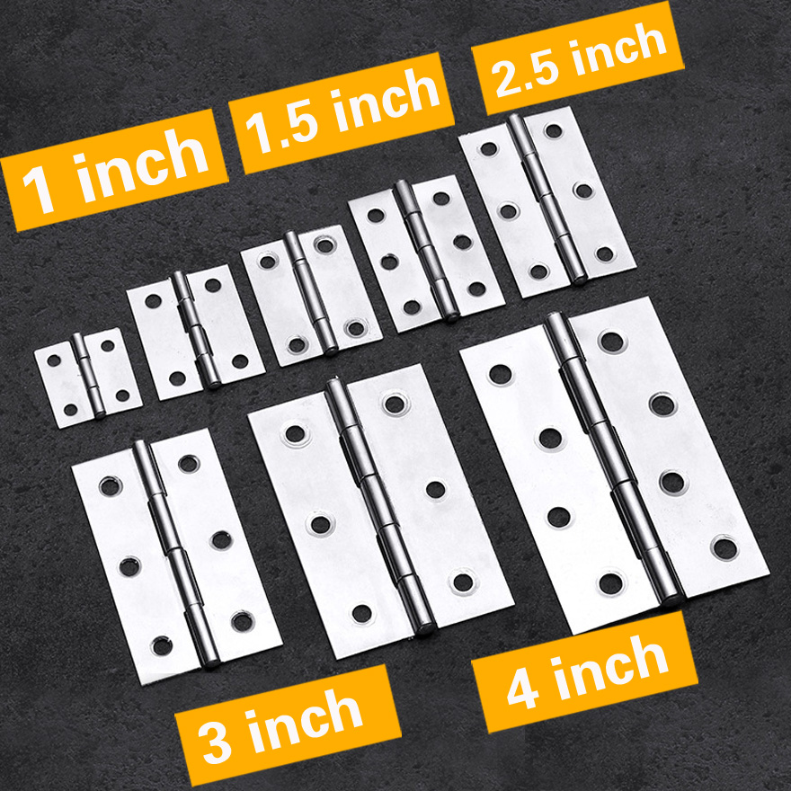 2Pcs Stainless Steel Flat Hinge Cabinet Doors 1/1.5/2/2.5/3/4inch With Matching Screws Windows Hinge Wooden Box Mini Hinges