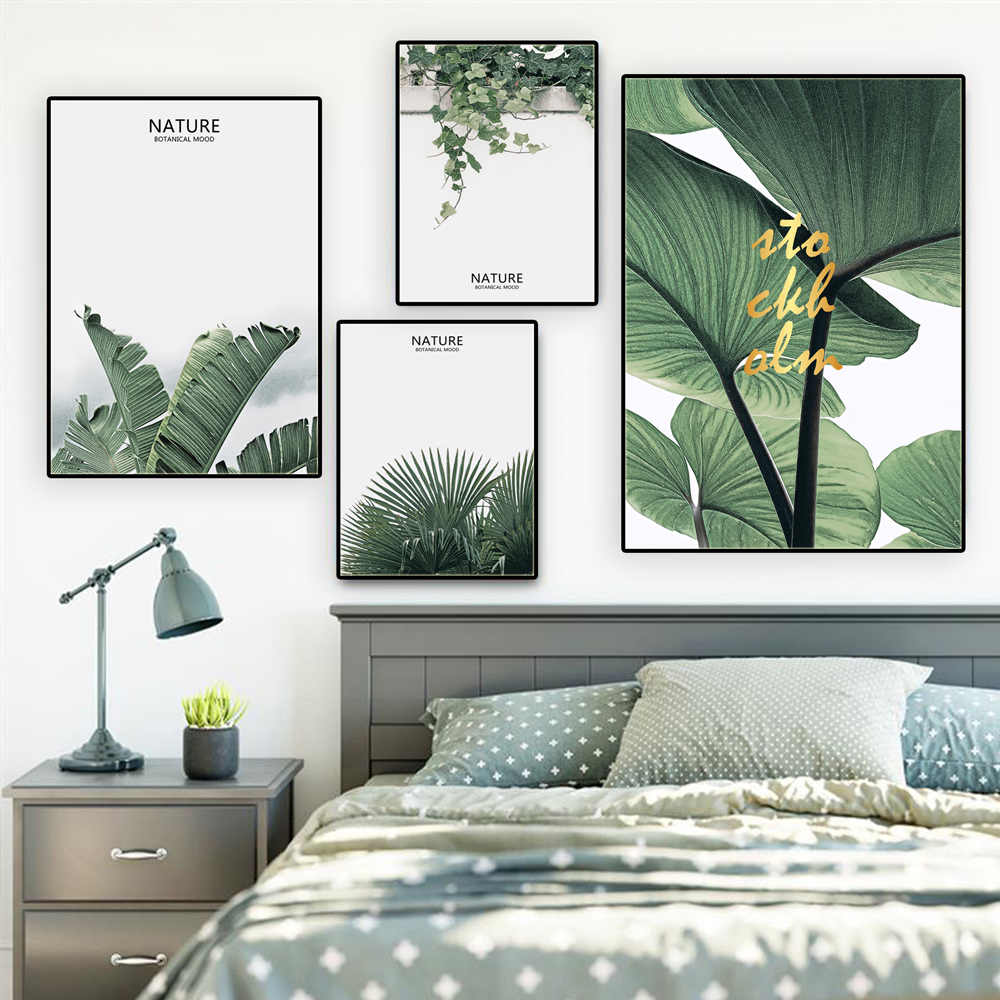 Nordic Green Plant Poster And Prints Canvas Painting Wall Pictures For Living Room Decoration Pictures On The Wall