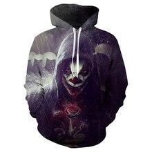 цена 3D printed children clothes Halloween clown hoodie fashion baby boy autumn winter long-sleeved sweatshirt Kids Cool hooded Tops в интернет-магазинах