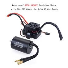 Waterproof 3650 3900KV Brushless Motor with 60A ESC Combo Set for 1/10 RC Car Truck VS GoolRC цены онлайн