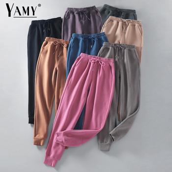 Spodnie dresowe koreańskie Cargo spodnie damskie Streetwear spodnie z wysokim stanem damskie nieformalny kolor blokowe spodnie patchworkowe spodnie damskie spodnie tanie i dobre opinie YAMY Poliester COTTON Pełnej długości SweatPants Women Stałe Ołówek spodnie Mieszkanie REGULAR Osób w wieku 18-35 lat