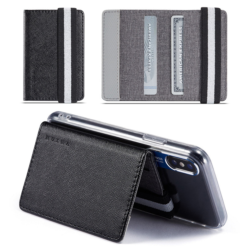 5 Colors RFID Blocking Adhesive Genuine Leather Credit Card Pocket Sticker Pouch Holder Case For Cell Phone