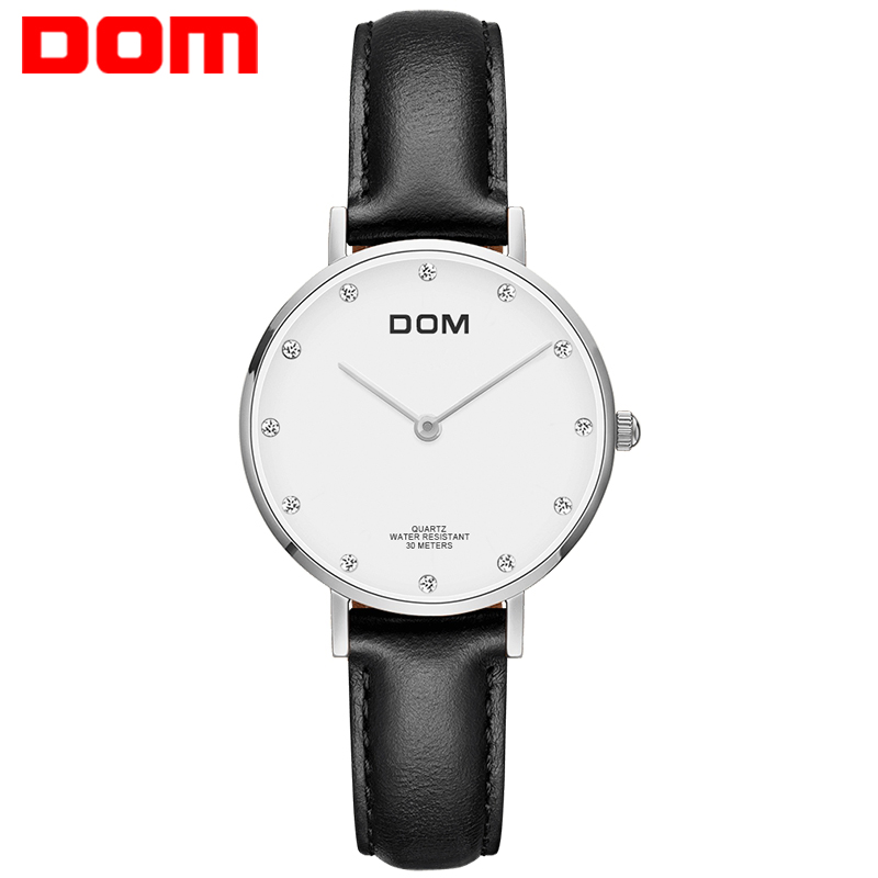 DOM Watch Women Top Brand Luxury Waterproof Casual Quartz-watches Leather Strap Ultra Thin Clock Women Dress Wristwatch G-36L-7M