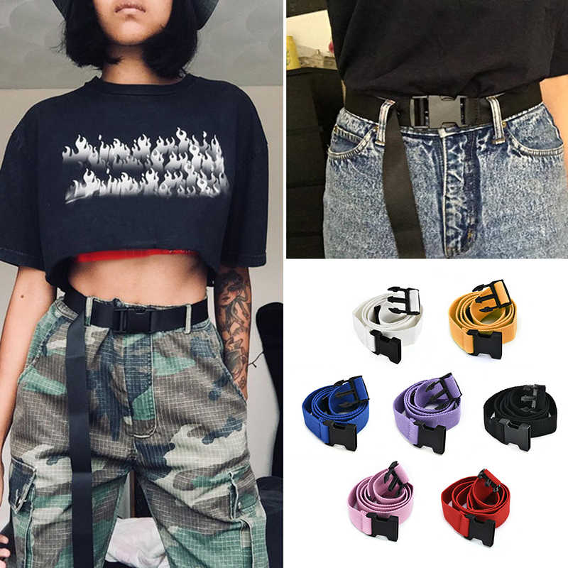 Women Casual Female Waist Belts Plastic Buckle Harajuku Solid Color Long Belts Ceinture Solid Fashion Canvas Multi Use Belt